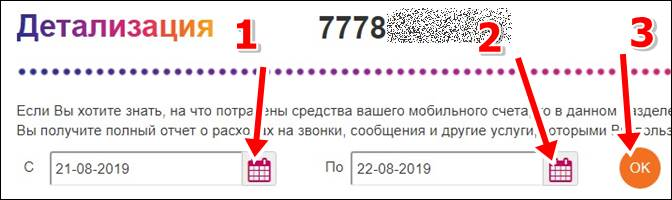 Детализация звонков Актив Казахстан - выбрать дату