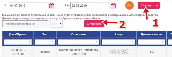 Детализация звонков Актив Казахстан - получение